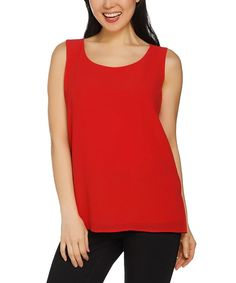 Red Layered Scoop Neck Tank - Plus Too