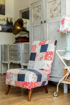 A Cottage Chic + Shabby + Beacy Patchwork Chair + Vintage + DIY