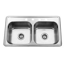 AquaSource 23-Gauge Double-Basin Topmount Stainless Steel Kitchen Sink