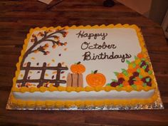 Great Image of Fall Birthday Cakes . Fall Birthday Cakes The Ozinga Outlook Autumn Sheet Cake Ca Halloween Torte, Pasteles Halloween, Theme Halloween, Fall Halloween, Fall Birthday Cakes, Birthday Sheet Cakes, Cupcakes, Cupcake Cakes, Sheet Cakes Decorated