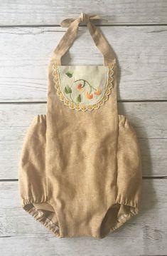 Handmade Linen Romper With Vintage Embroidery | ThePathLessRaveled on Etsy