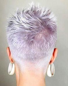 Funky Short Hair, Really Short Hair, Short Grey Hair, Short Hair With Layers, Short Hair Cuts For Women, Short Hair Styles, Short Pixie, Gray Hair, Short Shaved Hairstyles