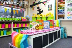 Kindergarten classroom library- clean, organized, and colorful!