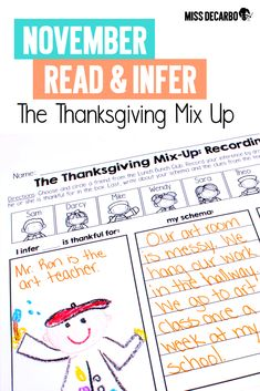 Thanksgiving Literacy: Activities, Ideas, and Freebies - Miss DeCarbo Reading Lesson Plans, Reading Lessons, Reading Strategies, Reading Comprehension, Literacy Skills, Literacy Activities, Teaching Writing, Teaching Ideas, Second Grade Teacher