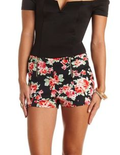 double zipper floral print high-waisted shorts