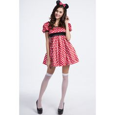 Red Adult Minnie Mouse Costume ($23) ❤ liked on Polyvore featuring costumes, red, adult minnie mouse costume, pin up halloween costumes, mouse costume, adult halloween costumes and adult mouse costume