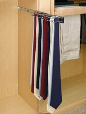 pullout tie organizer mounted in mens area for ties and belts.  Uses little space 16.00