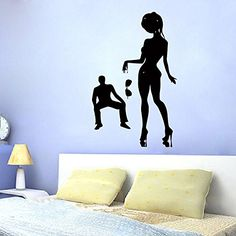 Housewares Wall Vinyl Decal Young Woman in Private Dance Man Watching Striptease Stripper Dancer Dancing People Interior Home Art Decor Kids Nursery Removable Stylish Sticker Mural Unique Design for Any Room