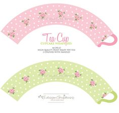 Sweet Rose Tea Cup Printable Cupcake Wrappers by EdesignGraphics