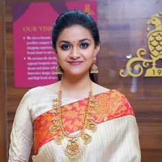 Keerthy Suresh Movie Latest Update - The National Award Winner for her commendable performance in Mahanati, will next be seen in the film. Beautiful Girl Indian, Most Beautiful Indian Actress, Beautiful Saree, Beautiful Actresses, Kerala Saree Blouse Designs, Saree Blouse Neck Designs, Saree Hairstyles, Bollywood Actress Hot Photos, Saree Look
