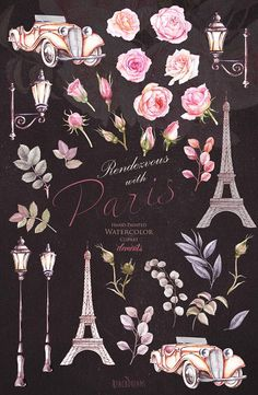 This Paris set of 31 high quality hand painted watercolor elements Perfect graphic for wedding invitations, greeting cards, photos, posters, quotes and more. Item details: 31 PNG files. (300 dpi, RGB, transparent background) Eiffel tower, lanterns, retro car - elements size (larger