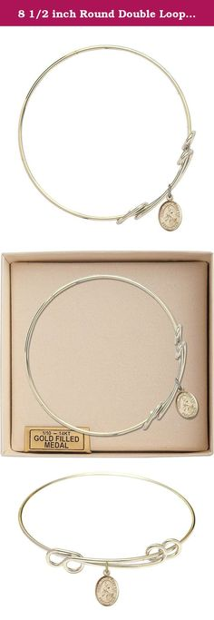 Miraculous Heart Charm On A 8 1//2 Inch Round Double Loop Bangle Bracelet