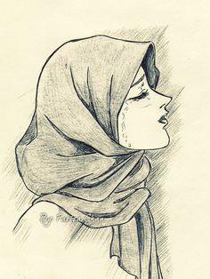 A girl crying drawing. Crying Girl Sketch, Crying Girl Drawing, Cry Drawing, Cute Girl Sketch, Girl Drawing Easy, Hijab Drawing, Girl Drawing Sketches, Cartoon Girl Drawing, Pencil Drawings Of Girls