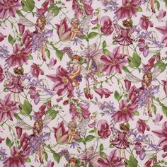 cute lilac flower fabric with flower fairies and purple flowers from the USA