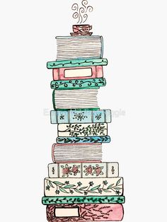 'Pink and Blue Floral Bookstack' Sticker by Emma Mildred Riggle Watercolor Bookmarks, Watercolor Art, Sticker Design, Clipart, Doodle Art, Line Art, Book Art, Art Drawings, Creations