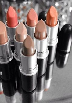 M.A.C lipsticks (top row to bottom row) in Bombshell, Creme Cup, Ravishing, Hue, Pretty Please, Blankety & Half N Half