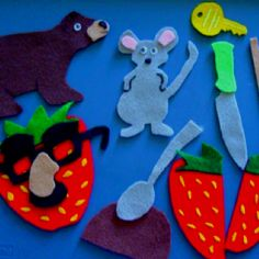 Flannel board pieces- for Mouse, Strawberry, Bear.