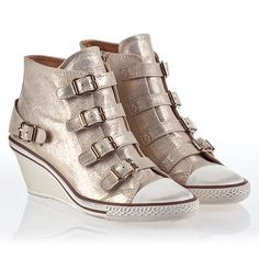 25d25bce3478 Ash Genial Womens Wedge Sneaker Skin Platine Leather 340005 (293)