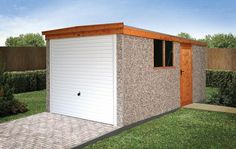 LidgetCompton Pent Garage The best value-for-money flat roof concrete garages from LidgetCompton. A solid workhorse for garaging, workshop or storage space. Garage Shed, Garage Doors, Prefab Sheds, Concrete Garages, Flat Roof, Simple Designs, Storage Spaces, Outdoor Structures, Building