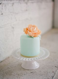 Another mint favorite of ours but this time just a mini cake because sometimes less is more! See these Peach and Emerald Wedding Ideas here captured by Hudson Nichols Photography with cake by Ciao Bella Cakes. Mint Green Cakes, Mint Cake, Naked Wedding Cake, Small Wedding Cakes, Beautiful Cake Designs, Beautiful Cakes, Pretty Designs, Candybar Wedding, Single Layer Cakes