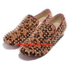 Discount Christian Louboutin Rollerboy Spikes Flats Leopard Gold
