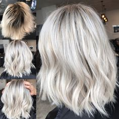 Silver shampoo to help brassy hair and keep it ashy and brighten up. Icy hair shades long and short. Highlights lowlights with pretty radiance. Silver with roots Hair Color Balayage, Blonde Balayage, Blonde Hair Kim Kardashian, Silver Hair Highlights, Icy Hair, Hair Color 2018, Hair Colour, Dark Roots Blonde Hair, Icy Blonde