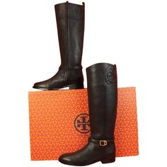 Pre-owned Tory Burch Marlene Tumbled Leather Reva Tall Riding 8 Black... ($380) ❤ liked on Polyvore featuring shoes, boots, black, riding boots, tall riding boots, buckle boots, black riding boots and tall black boots