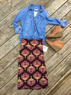 LuLaRoe Cassie skirt paired with a chambray shirt and wedge boots to make an adorable fall outfit. Flat Lays by LuLaRoe with Devin Leigh. #devinsleggings #lularoewithdevinleigh