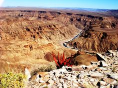 Beautiful shot of Fish River Canyon, Namibia. Did you know this canyon is the largest in the world? Land Of The Brave, West Africa, South Africa, Namibia, Travel Album, Beautiful Places, Beautiful Scenery, City Beach, Travel Memories