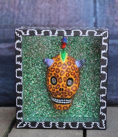 Day of the Dead, Leopard Skull Shadow Box, Mexican Folk Art, hand made Puebla !