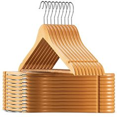 Zober Super Sturdy Solid – Lotus Wood Hangers – (20 Pack)...