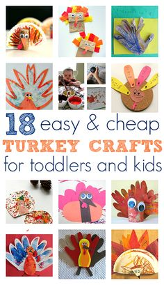 Easy Turkey Crafts For Toddlers and Kids - almost all of these make great last minute Thanksgiving crafts. Not too much prep or too many expensive materials. Anyone can make these with their kids.