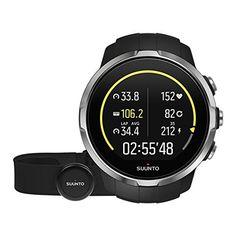 Suunto Spartan Sport HR GPS-Uhr, für Multisport-Athleten, 10 Std. Akkulaufzeit, Wasserdicht, Herzfrequenzmesser, Brustgurt, Farbtouchscreen, schwarz, SS022648000