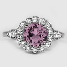 Platinum Sapphire Camillia Diamond Ring // Set with a 6.5mm Light Pink Round Sapphire (From Unique Colored Gemstone Gallery) #BrilliantEarth