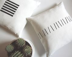 Black and white Scandinavian style linen pillow by LinenSpace