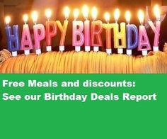 Dozens of Birthday Deals Birthday Deals, It's Your Birthday, Happy Birthday, Restaurant Deals, Restaurant Coupons, Happy Hour Specials, Holiday Fun, Holiday Ideas, Fast Food Chains