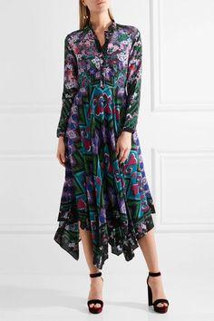 Saloni - Cerise Asymmetric Printed Silk-crepe Maxi Dress - Purple - UK16