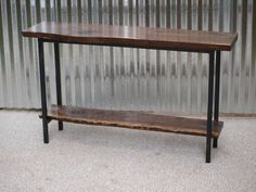 Live Edge Console Tables by michaelheuser on Etsy Live Edge Console Table, Console Tables, Walnut Table, Walnut Wood, Entry Tables, Iron Pipe, Entryway, House Ideas, Decorating Ideas