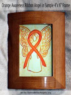 Orange Awareness Ribbon Leukemia and Kidney Cancer Guardian Angel Art Postcards (10 Pack)