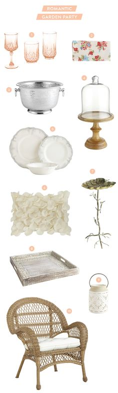 All of the decor you need for a garden party: http://www.stylemepretty.com/living/2015/05/26/a-romantic-garden-party-with-pier-1-imports/