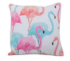 """Add a burst of fun tropical color to your room with our new Flamingo Family Flock 18"""""""" x 18"""""""" pillow. Colorful flamingos in blue, pink, aqua and coral decorate these indoor or outdoor cushions and are"""