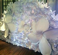 paper flower backdrop with unusual grande flowers