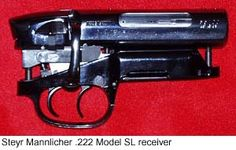 BLADE RUNNER - Steyr-Mannlicher Model .222 SL receiver with dual triggers (1969) of the type used for the PKD Blaster hero prop. The finished pistol weighed over 5 pounds.