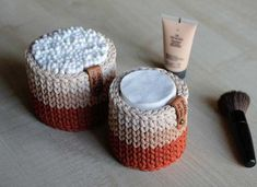 Set of 2 crochet basket for home decor and storage. Small baskets are great for storing cotton disc, cotton swabs and cosmetics. Baskets are crocheted by hand using polyester cord . Сolor - terra cotta, peach and beige Crochet Storage, Crochet Box, Diy Crochet And Knitting, Crochet Doilies, Crochet Stitches, Crochet Patterns, Cotton Crochet, Knit Basket, Basket Weaving