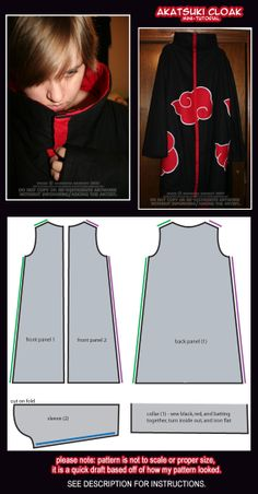 Akatsuki Cloak: Mini-Tutorial by skei.deviantart.com on @deviantART AMAZING cloak! Seriously, this person created the most ACCURATE cloak I've EVER SEEN!