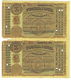 Pleasantville, IA 1883 Uncut Pair of Postal Notes #111 & #112 Issued for 11 cents & 2 cents; payable at St. Louis, MO & Leavenworth, KS