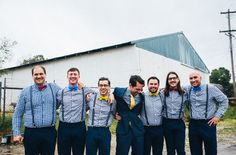 love these groomsmen in checkered shirts, suspenders and bow ties!
