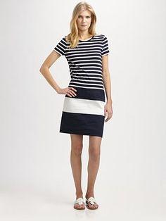 DKNY - Striped Short-Sleeve Dress - Saks.com