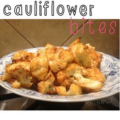"""Recipe: """"Spicy"""" Cauliflower Bites...not spicy hot but full of flavor.  Yummy!  myfitfamily.com"""