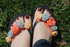 Flower Power Flip Flops By Lorene Haythorn Eppolite - Cre8tion Crochet - Free Crochet Pattern - (ravelry)
